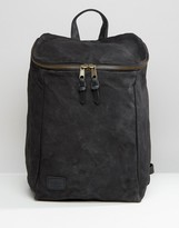 Asos Backpack In Washed Canvas With Chunky Zip Top