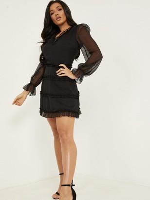 Quiz Long Sleeve Skater Dress - Black