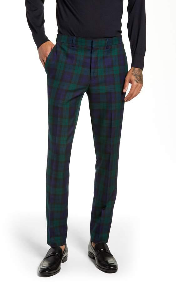 Topman Plaid Slim Fit Suit Pants