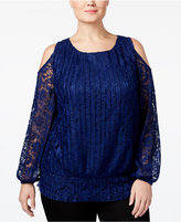 INC International Concepts Plus Size Cold-Shoulder Lace Top, Only at Macy's