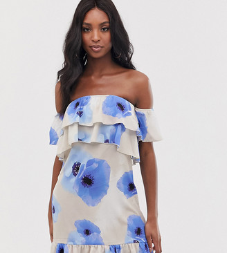 Parisian Tall bandeau frill dress in poppy print