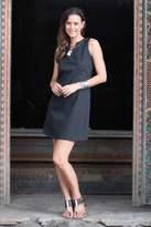 Women's Black Cotton Sleeveless Shift Dress from Bali, 'Lily in Black'