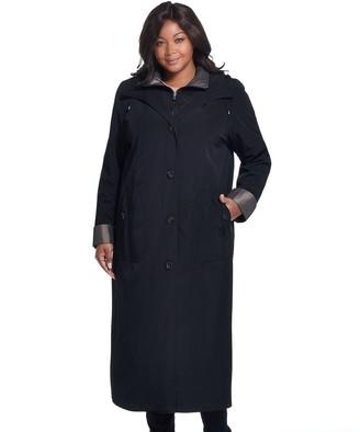 Gallery Plus Size Long Hooded Rain Coat