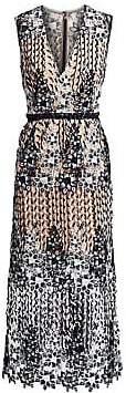 ML Monique Lhuillier Women's Floral Lace Midi Dress