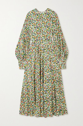 Rotate by Birger Christensen Mary Open-back Floral-print Crepe Maxi Dress - Green