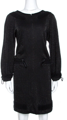 Chanel Black Lurex Knit Drawstring Waist Long Sleeve Dress L