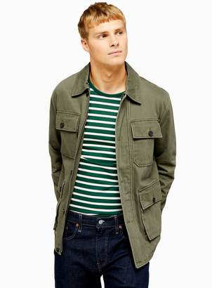 TopmanTopman Khaki Safari Four Pocket Lightweight Jacket