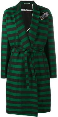 Rochas Brooch Embellished Stripe Coat
