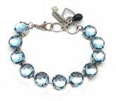 Mariana Silver Plated Swarovski Crystal Bracelet Round Checkerboard Cut in Denim Blue 266