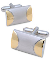 Geoffrey Beene Cufflinks, Domed Rectangle in Brushed Rhodium With Gold-Tone Accent Cufflinks Boxed Set