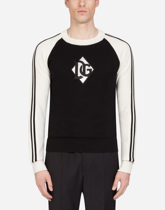 Dolce & Gabbana Two-Tone Crew Neck Virgin Wool Sweater With Patch