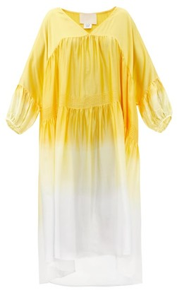 Anaak Airi V-neck Tiered Dip-dyed Silk Dress - Yellow Multi