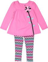 Kids Headquarters Pink Floral Tunic & Zigzag Leggings - Toddler & Girls