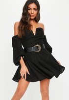 Missguided Black Bardot Puffball Sleeve Skater Dress