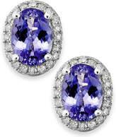 Macy's Tanzanite (1-1/2 ct. t.w.) and Diamond (1/5 ct. t.w.) Oval Stud Earrings in 14k White Gold
