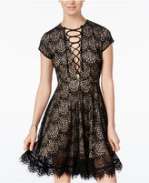 XOXO Juniors' Lace-Up Lace Dress