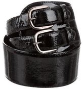 Oscar de la Renta Patent Leather Wide Belt
