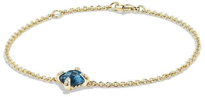 David Yurman Ch'telaine Bracelet with Hampton Blue Topaz and Diamonds in 18K Gold