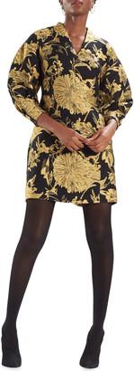 Natori Rounded Sleeve Golden Flower Jacquard Dress
