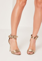 Missguided Satin Tie Metal Heeled Sandals Nude