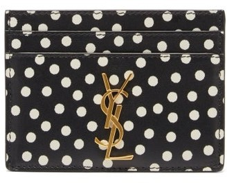 Saint Laurent plaque Polka-dot Print Leather Cardholder - Black Multi