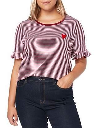 Ulla Popken Women's Shirt Gestreift Mit Herzstickerei, Slim T,16 (Size: 42+)