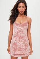 Pink Multi Cross Strap Velvet Bodycon Dress, Pink