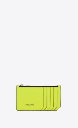 Saint Laurent Paris Slg Fragments Zipped Card Case In Grain De Poudre Embossed Patent Leather Neon Yellow Onesize