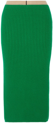 Calvin Klein Ribbed Wool And Cashmere-blend Midi Skirt