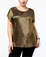 NY Collection Plus Size Cap-Sleeve Pleated Top