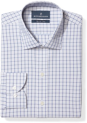 """Buttoned Down Men's Slim Fit Spread-Collar Non-Iron Dress Shirt Berry/Red/Navy Tatersol 15.5"""" Neck 36"""" Sleeve"""
