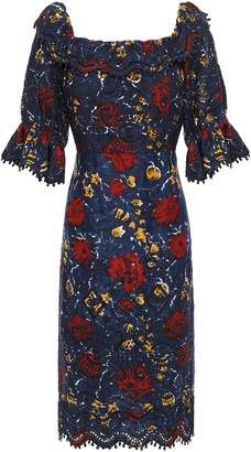 Sea Willow Ruffle-trimmed Floral-print Broderie Anglaise Cotton Dress