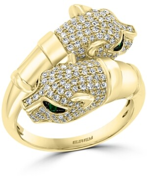 Effy Diamond (7/8 ct. t.w.) & Emerald Accent Panther Bypass Ring in 14k Gold