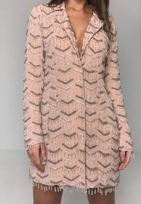 Missguided Pink Embellished Fringe Blazer Mini Dress