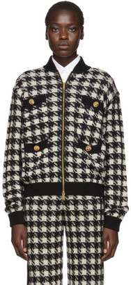Gucci Black and Off-White Short Houndstooth Bomber