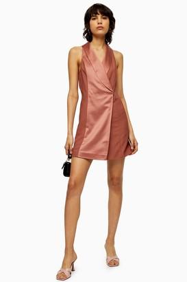 Topshop Womens Pink Satin Tuxedo Dress - Copper