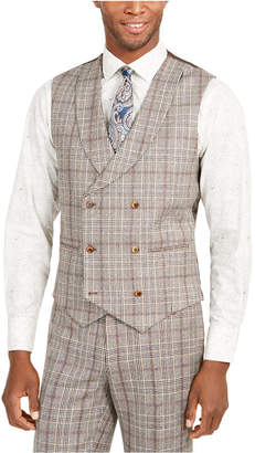 Tallia Men Slim-Fit Brown Plaid Flannel Double-Breasted Suit Vest