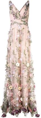 Marchesa V-neck floral applique gown
