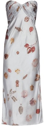 Alejandra Alonso Rojas Strapless Printed Silk Bustier Midi Dress