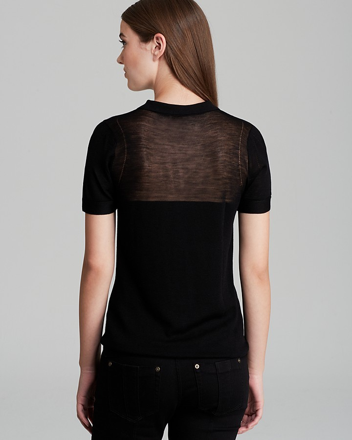 Burberry Knit Top with Sheer Yoke