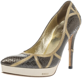 Gucci Dark Beige/Yellow Mixed Exotic Skin Pointed Toe Platform Pumps Size 36.5