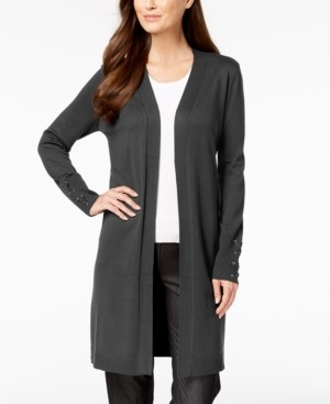 JM Collection Lace-Up-Sleeve Cardigan, Regular & Petite Sizes, Created for Macy's