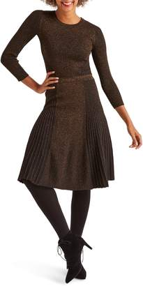 Boden Diona Metallic Thread Fit & Flare Sweater Dress