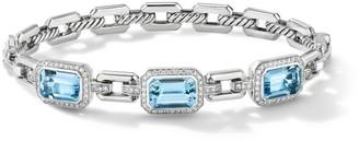 David Yurman Novella Sterling Silver, Diamond & Blue Topaz 3-Stone Bracelet