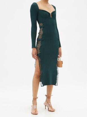 Self-Portrait Sweetheart Lace-insert Rib-knitted Midi Dress - Dark Green