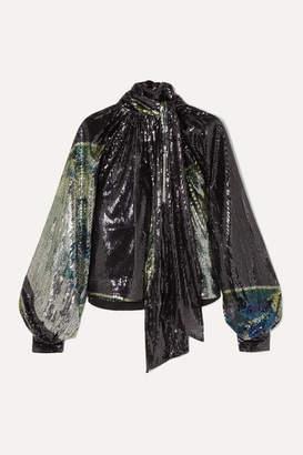 Ganni Tie-neck Sequined Stretch-mesh Blouse - Metallic