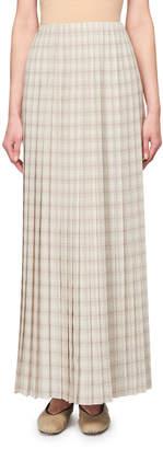 The Row Tulu Pleated Plaid Maxi Skirt
