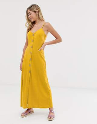 Asos Design DESIGN maxi slubby cami swing dress with faux wood buttons-Yellow