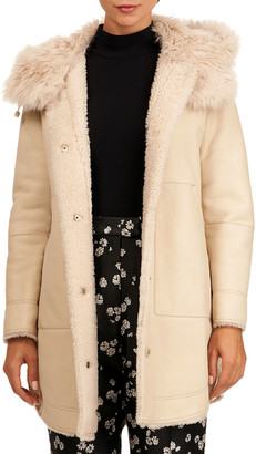 Yves Salomon Shearling Lamb Fur Parka Coat w/ Toscana Lamb Trim