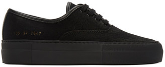 Common Projects Black Canvas Four Hole Sneakers